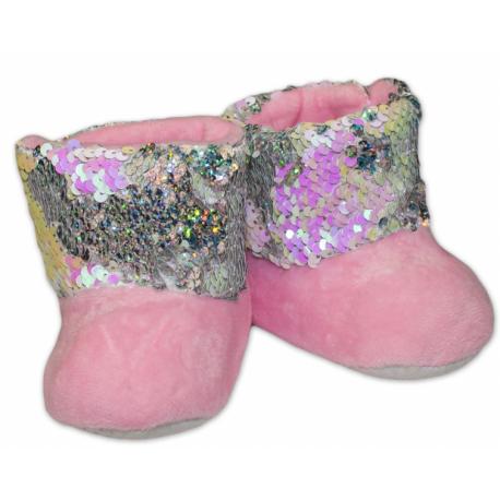 Zimné topánky/šľapky s flitryYO! -sv. ružové