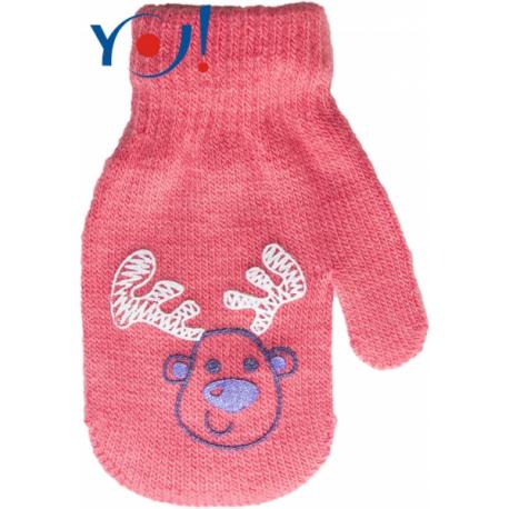 Dojčenské dievčenské akrylové rukavičky YO - lososově/červená
