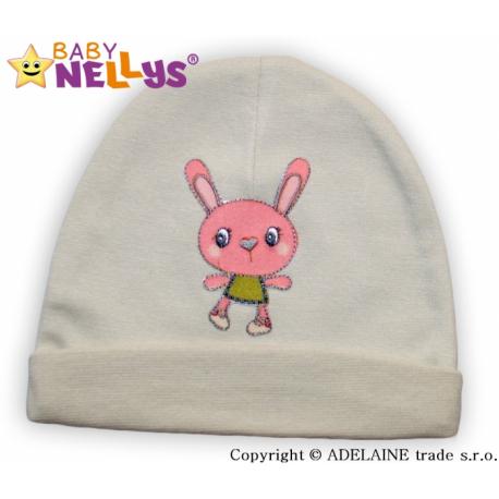 Bavlnená čiapočka Baby Nellys ® - béžová s zajačikov