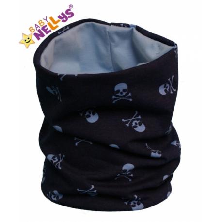 Bavlnená sada čiapočka / nákrčník s lebkami Baby Nellys ® - tm. modrá