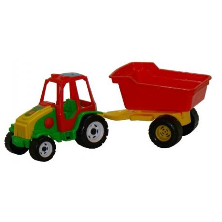 Traktor s vlekom plast 52cm 2 farby v sieťke