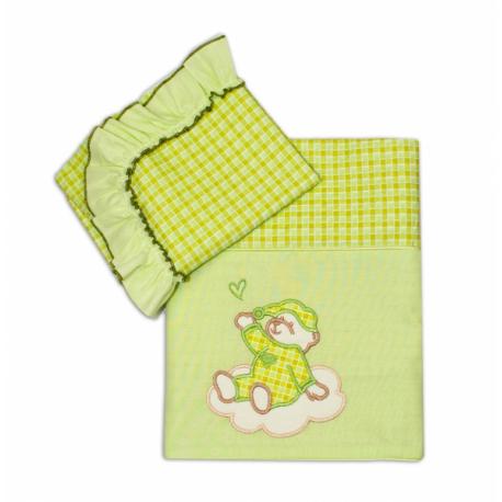 2D Luxusný set/povlečení do kočíka - Medvedík na mráčika zelená kocka