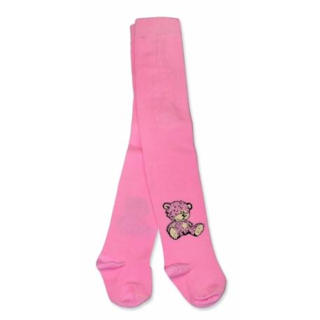 Bavlnené pančucháče Baby Nellys ® - Sweet Teddy - sv. ružové, veľ. 104/110