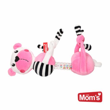 Edukačná hračka závesná s hrkálkou Macko - ružový
