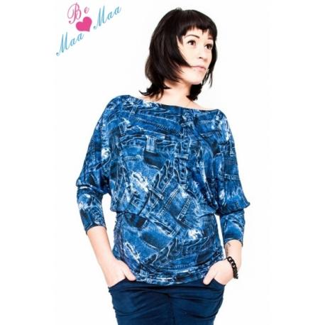Tehotenské štýlové tričko, blúzka s JEANS vzorom