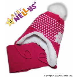 Zimná čiapočka s kožušinkou a šálom Lili - sýto ružová, fuksijová