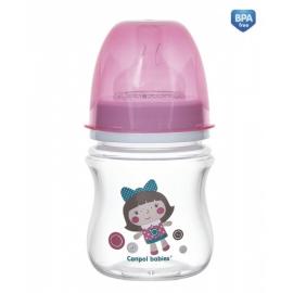 Antikoliková fľaštička so širokým hrdlom Canpol Babies EasyStart - TOYS 120 ml - ružová