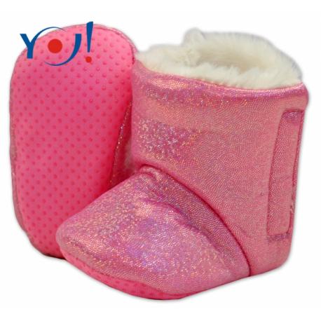 Zimné topánky/šľapky s kožušinou YO! -lesklé-ružové