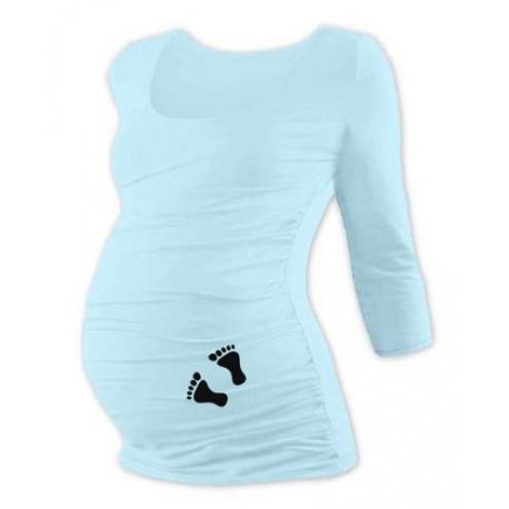 Tehotenské tričko 3/4 rukáv s nožičkami, veľ. M/L - sv. modré