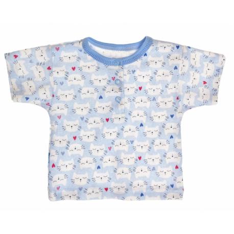 Bavlnené Polo tričko s krátkym rukávom Mačičky veľ. 86 - modré