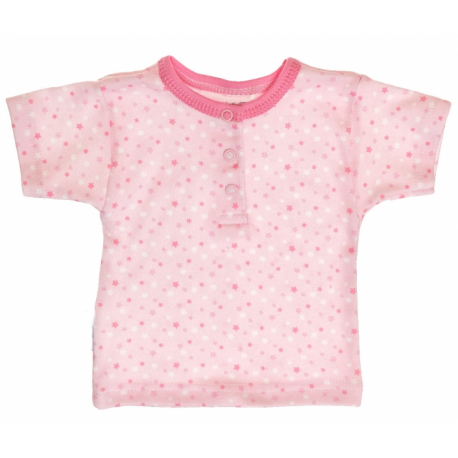 Bavlnené Polo tričko s krátkym rukávom veľ. 80 Hviezdičky - ružové