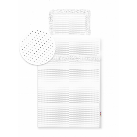 2-dielne bavlnené obliečky s volániky - bielé/bodky sivé, 135x100 cm