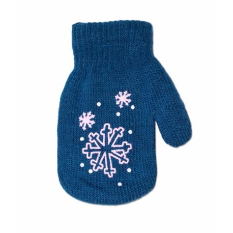 Dojčenské dievčenské akrylové rukavičky YO - tm. modré