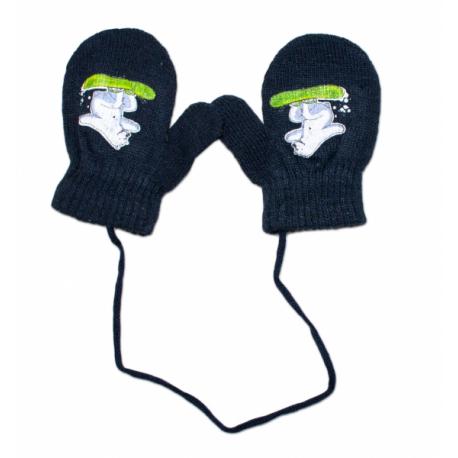 Zimné dojčenske rukavičky vlnené - so šnúrkou a potlačou YO - granat, veľ. 12 cm