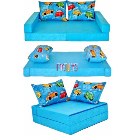 Rozkladacia detská pohovka 3 v 1 - P01 - Auta v modrej