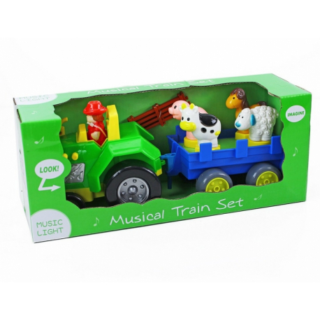 Traktor s vlečkou so zvukom a svetlom