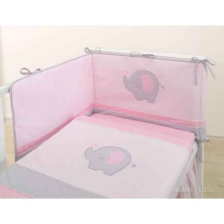 Mantinel s obliečkami LUX - SLON ružový