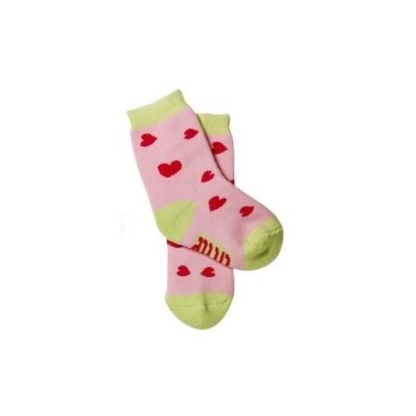 Bavlnené froté ponožky Baby Ono 6-12m - Ružové so srdiečkami