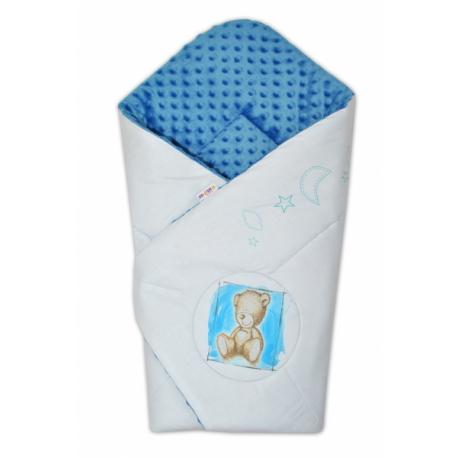Zavinovačka, 75x75cm, bavlnená s Minky by Teddy - sv. modrá, modrá