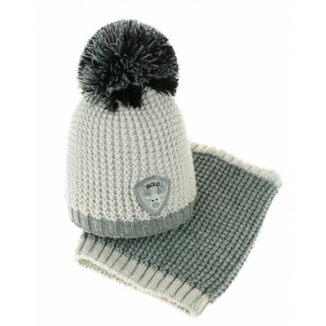 Jesenná/zimná čiapka s komínom - Bambulka - sv. sivá/sivá