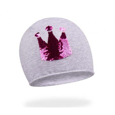 Bavlnená čiapočka s flitrami YO! Korunka - sv. sivá