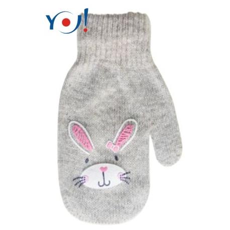 Dojčenské dievčenské akrylové rukavičky YO - sv. sivé