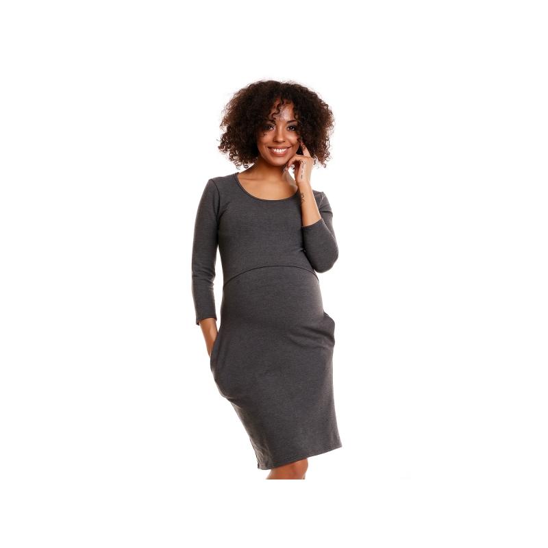 061be41fb Pohodlné tehotenské šaty, 3/4 rukáv - grafitové(dojčiace)