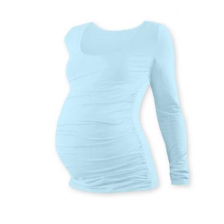 Tehotenské tričko JOHANKA s dlhým rukávom - sv. modrá