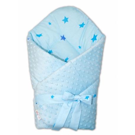 Obojstranná zavinovačka na zaväzovanie 75x75cm s Minky hviezdičky modré - sv. modrá
