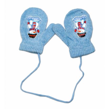 Zimné dojčenske rukavičky vlnené - so šnúrkou a potlačou YO - sv. modré, veľ. 12 cm