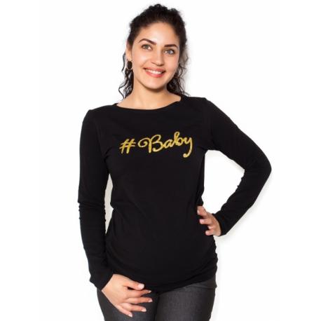 Tehotenské tričko dlhý rukáv Baby - čierné - M