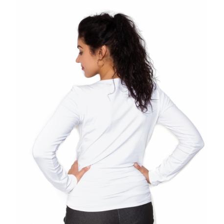 Tehotenské tričko dlhý rukáv Kiss - biele - L