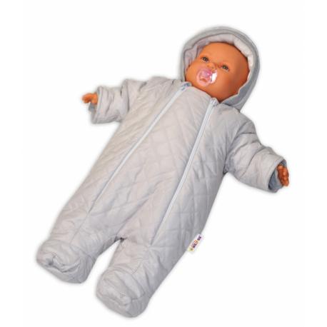 Kombinézka s kapucňu Lux Baby Nellys ®prošívaná - smotanová, veľ. 74