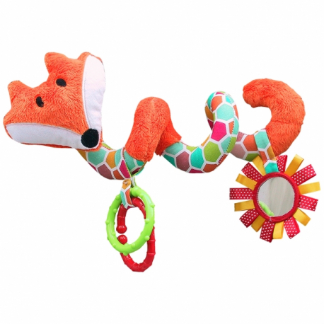 Edukačná hračka Hencz s hrkálkou a zrkadlom - LIŠKA - špirála -oranžová