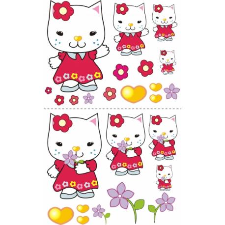 Nálepky, dekorace na stěnu 70x100 cm - Mačička s kytičkou