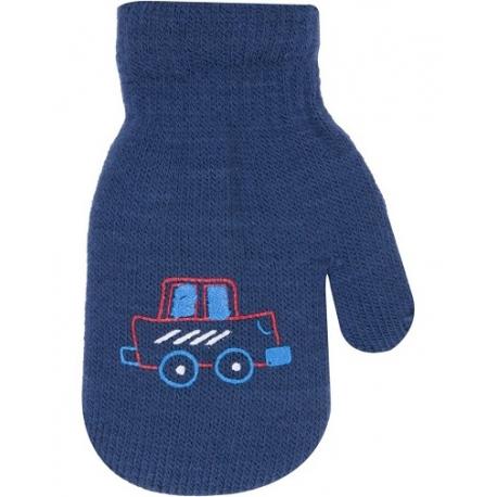 Chlapčenské akrylové rukavičky oteplené YO - so šnúrkou, tm. modré