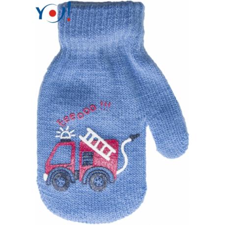 Dojčenské chlapčenské akrylové rukavičky YO - modré