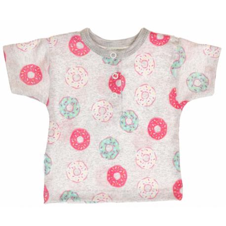 Bavlnené Polo tričko s krátkym rukávom Donuty veľ. 62 - sivé