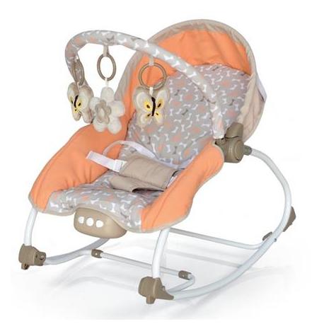 BABY MIX Lehátko pre dojčatá s vibrácií a hudbou - Motýle - oranžové