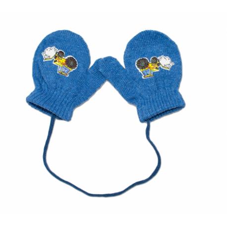 Zimné dojčenske rukavičky vlnené - so šnúrkou a potlačou YO - jeans, veľ. 13-14 cm