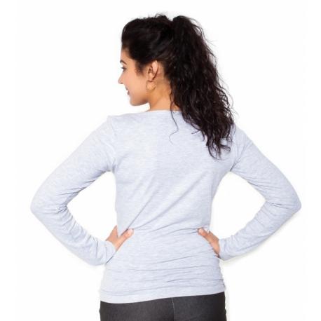 Tehotenské tričko dlhý rukáv In Love - sivá - S