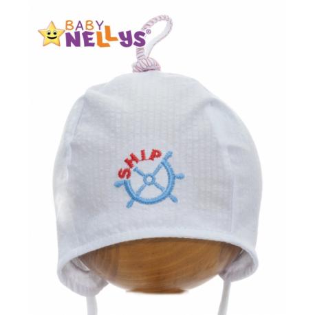 6cfa46cae Letné čiapočka baby Nellys - námornícka - biela