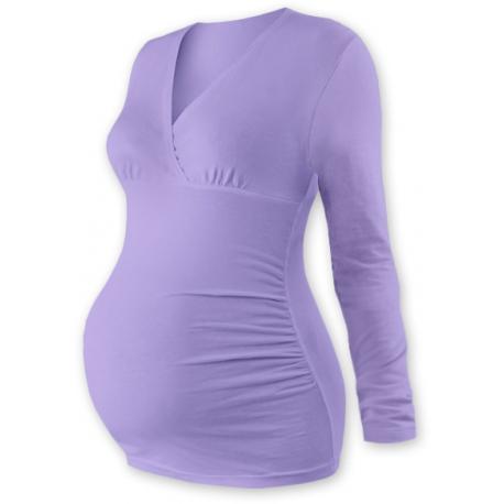 Tehotenské tričko / tunika dlhý rukáv EVA - levanduľa