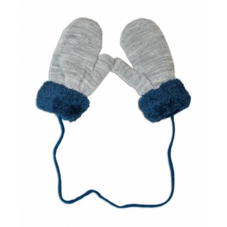 ffa49038249a Zimné detské rukavice s kožušinou - šnúrkou YO - sivé  granát. kožušina