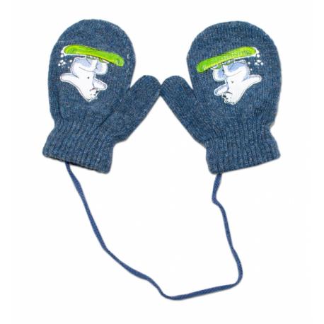 Zimné dojčenske rukavičky vlnené - so šnúrkou a potlačou YO - grafit