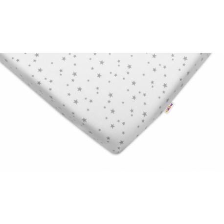 Bavlnené prestieradlo Baby Nellys ® - Mini hvezdičky sivé