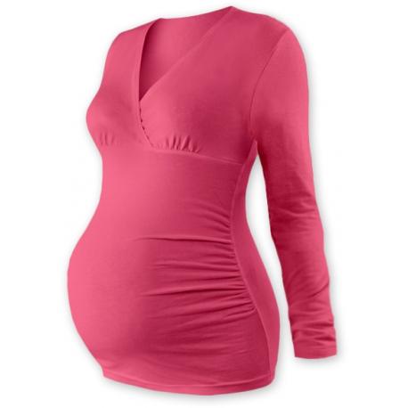 Tehotenské tričko / tunika dlhý rukáv EVA - losos. ružové