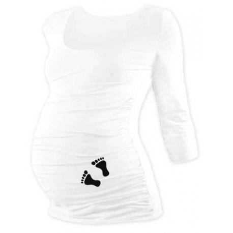 Tehotenské tričko 3/4 rukáv s nožičkami, veľ. L/XL - biele