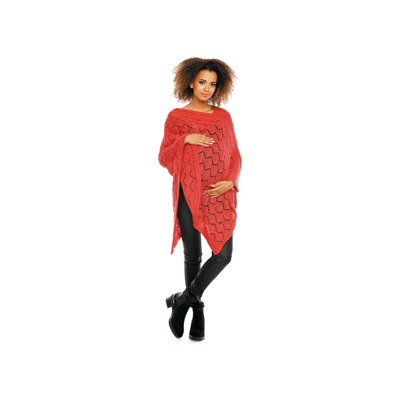 Elegantné tehotenské pončo ažurkové - korálové 30aa8aa54e