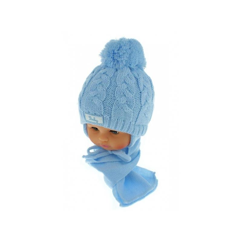 1b16ffae6 Zimná pletená čiapočka s šálom Baby Bear - modrá s brmbolcami